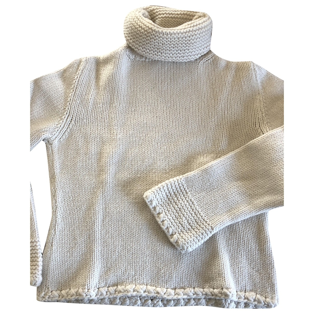Non Signé / Unsigned \N Ecru Wool Knitwear for Women 38 FR