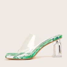 Clear Tropical Sole Chunky Heeled Mules