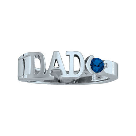 Personalized Men's Simulated Birthstone Dad Ring, 8 , White