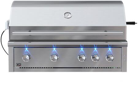 XOGRILL42L 42 Built-In Liquid Propane Grill with Three Stainless Steel Burners  One Infrared Burner  Ceramic Briquette Trays  and Rotisserie in
