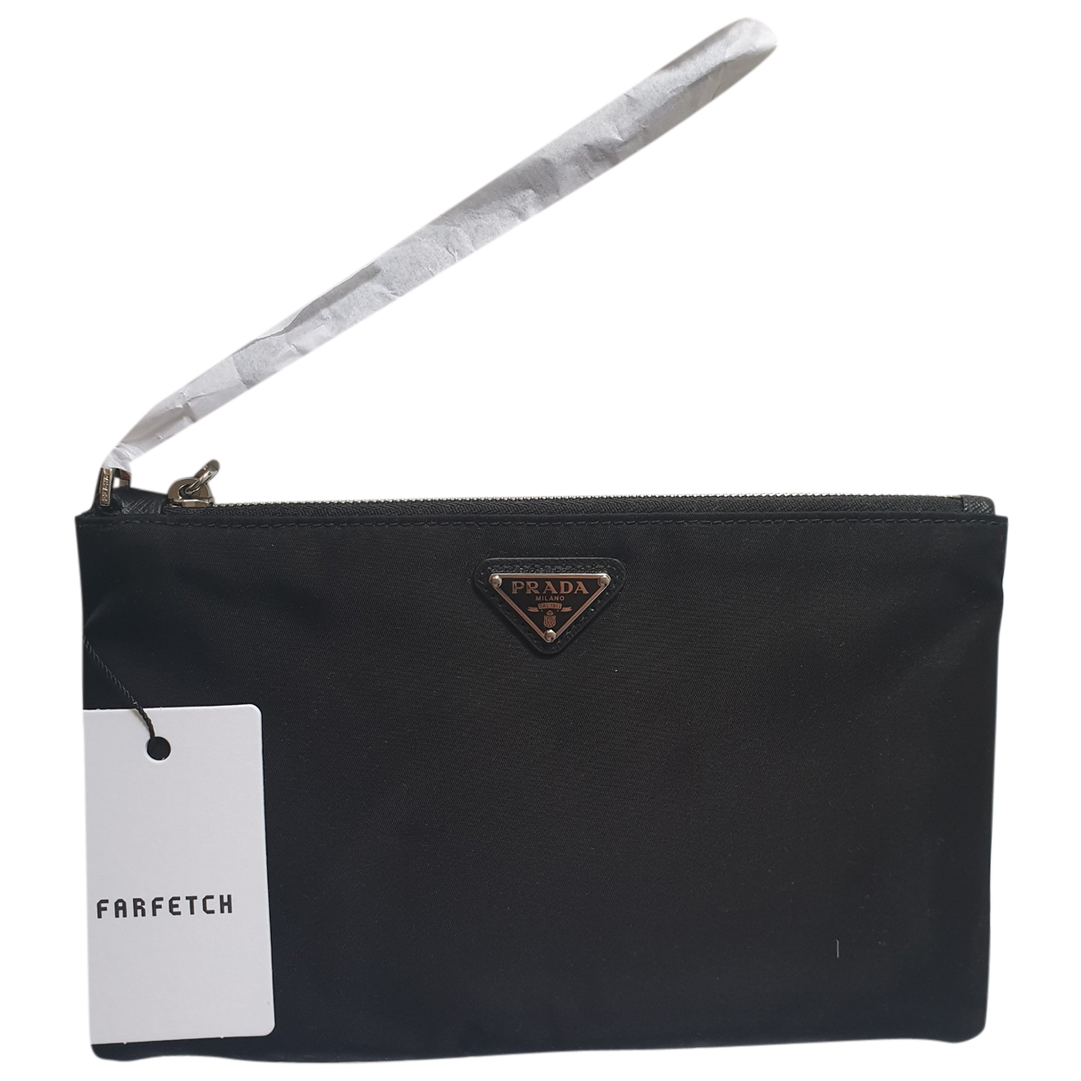 Prada Re-Nylon Clutch in  Schwarz Leinen