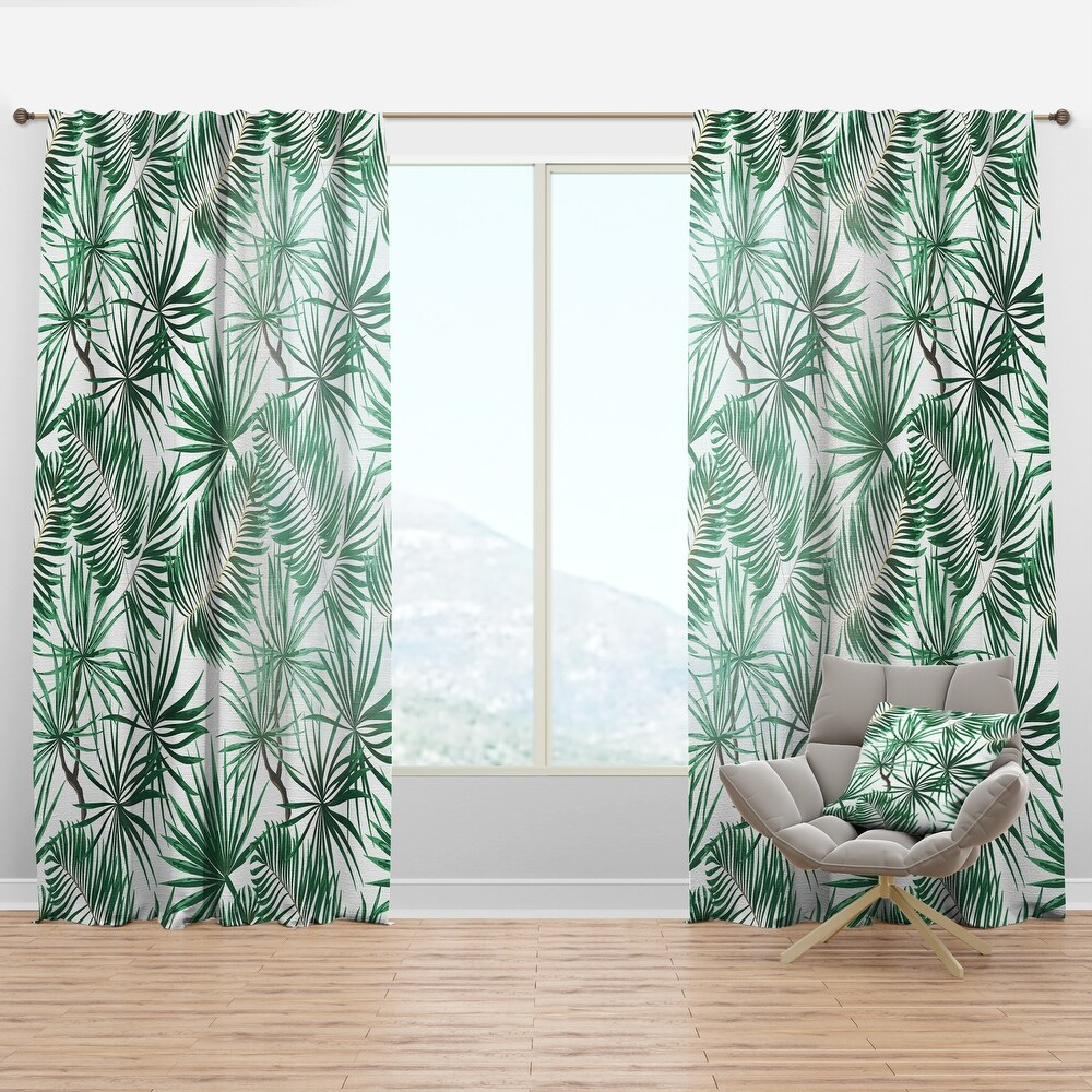 Designart 'Bright Green Tropical Leaves' Tropical Curtain Panel (50 in. wide x 63 in. high - 1 Panel)