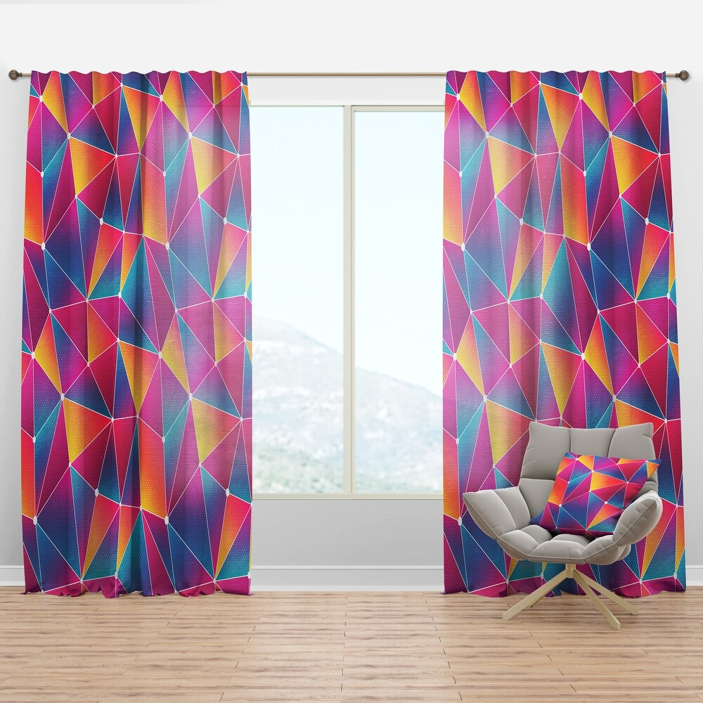 Designart 'Bright Triangle with Grunge Effect' Modern Curtain Panel (50 in. wide x 90 in. high - 1 Panel)