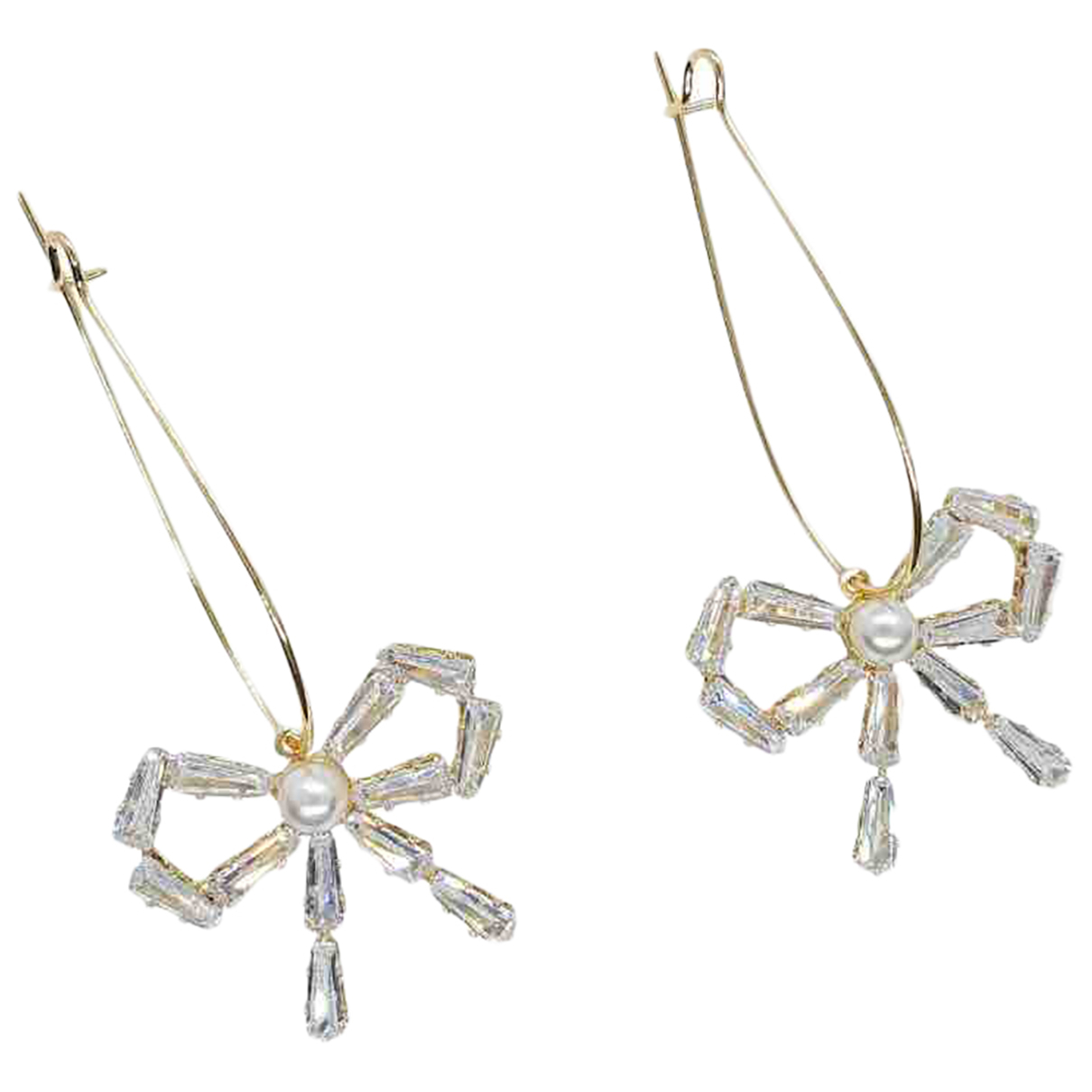 Non Signé / Unsigned Motifs Noeuds Gold Metal Earrings for Women N