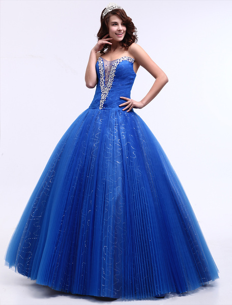 Milanoo Blue Wedding Dress Sweetheart Floor-Length Ball Gown Princess Bridal Gown Sequin Pageant Dress