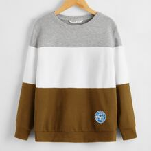 Boys Patched Detail Colorblock Pullover