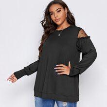 Sweatshirt mit Netzeinsatz und Rueschenbesatz