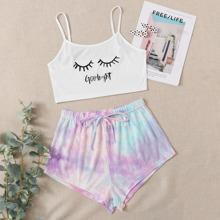 Letter Print Cami & Tie Dye Shorts PJ Set