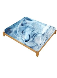 Super Lifelike Snow Wolf in the Wild Printed Cotton Fitted Sheet