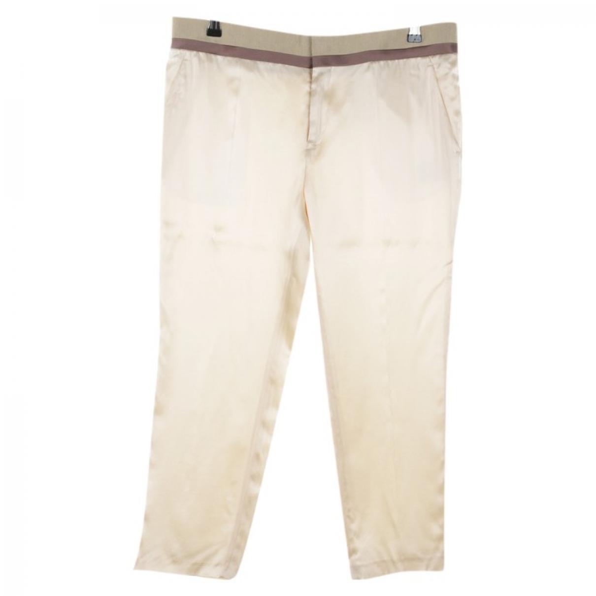 Haider Ackermann \N White Silk Trousers for Women 40 FR