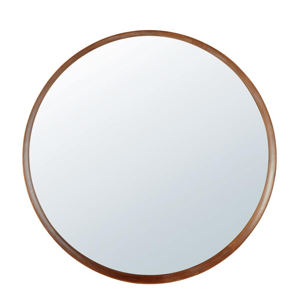 Runder Spiegel mit Rahmen aus Buchenholz D120