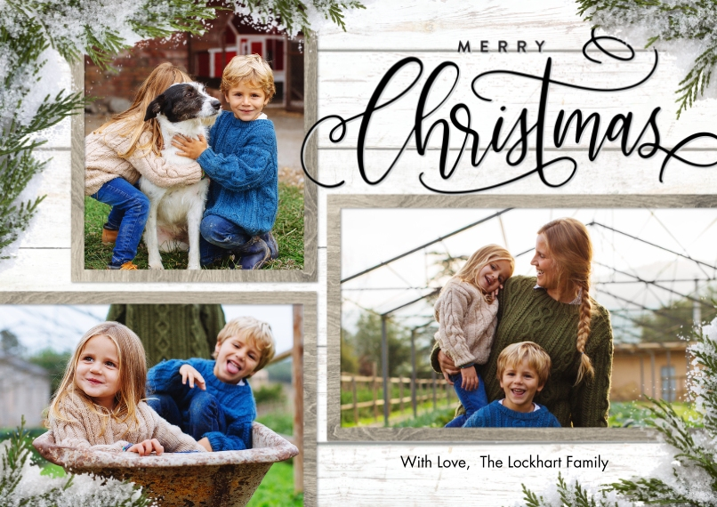 Christmas Photo Cards 5x7 Cards, Standard Cardstock 85lb, Card & Stationery -Christmas Evergreen Snapshots by Tumbalina