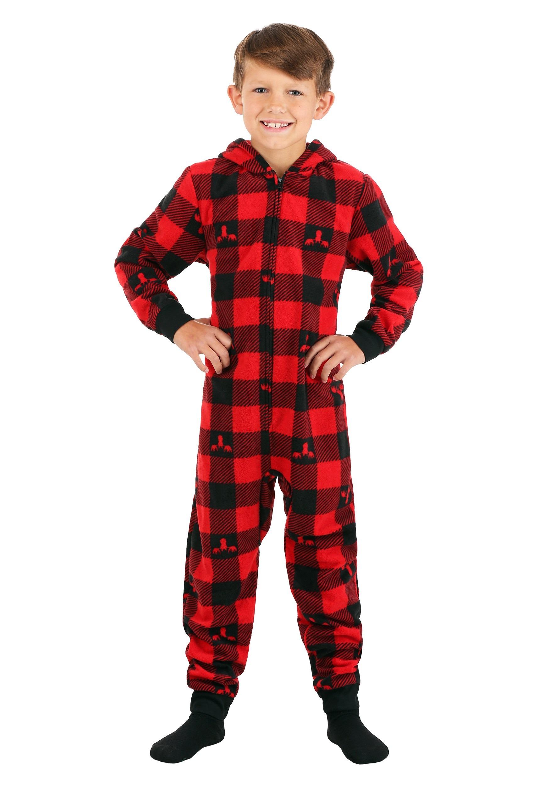 Boys Red Checkered Hooded Moose Blanket Sleeper