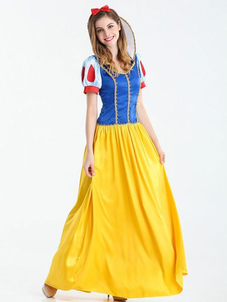 Milanoo Disfraz de Navidad para mujer Vestido de fiesta de Halloween de dos tonos de poliester amarillo