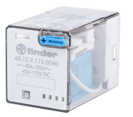 Finder , 110V dc Coil Non-Latching Relay DPDT, 10A Switching Current Plug In, 2 Pole