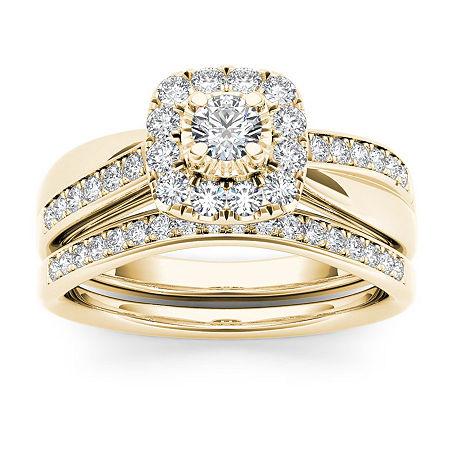 Womens 5/8 CT. T.W. Genuine White Diamond 10K Gold Bridal Set, 8 , No Color Family
