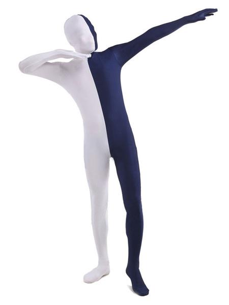 Milanoo Dark Navy and White Two Tone Zentai Suit Full Body Lycra Spandex Bodysuit
