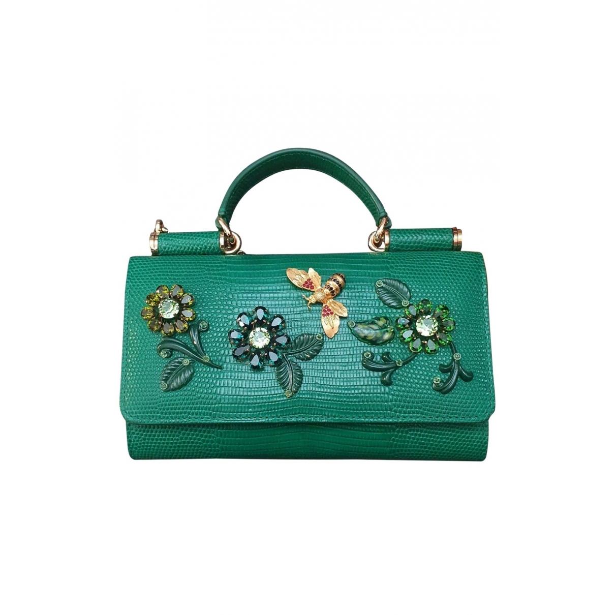 Dolce & Gabbana - Portefeuille   pour femme en lezard - vert