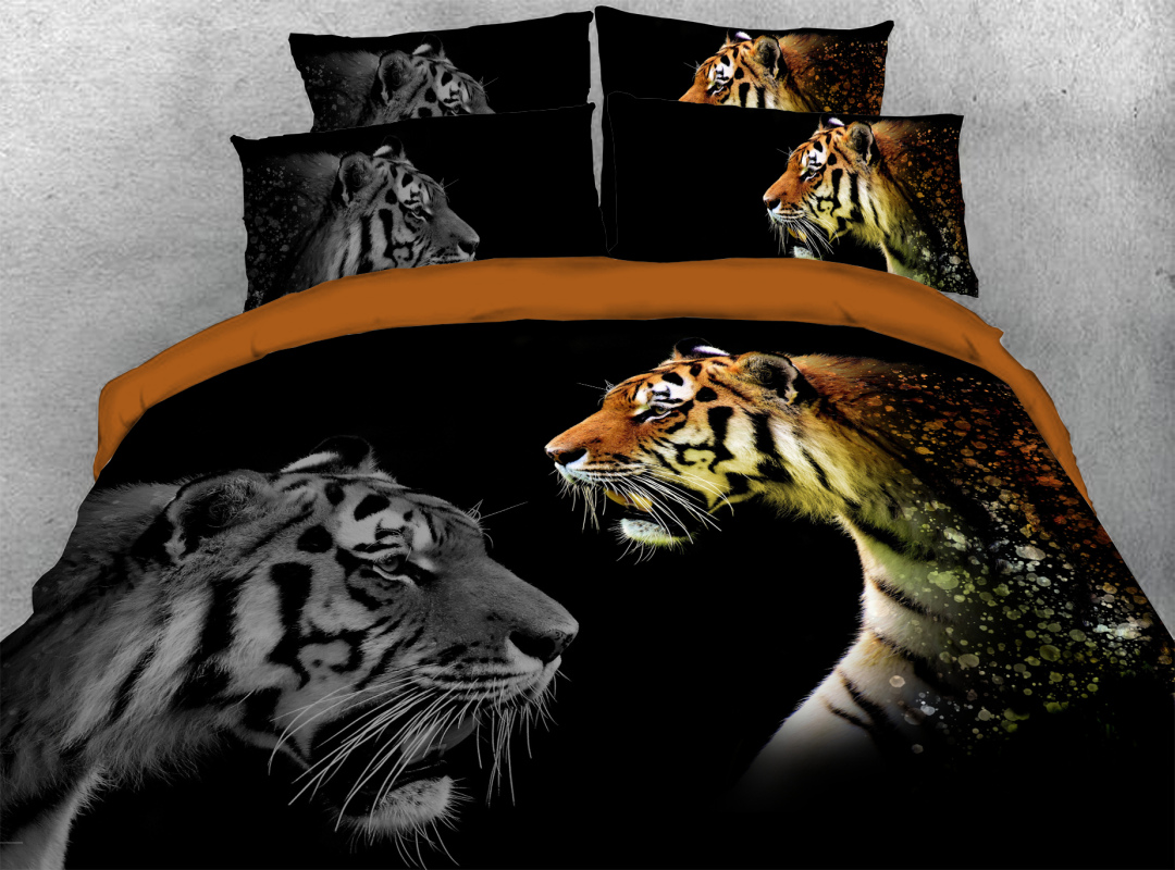 Tiger 4-Piece Soft 3D Animal Bedding Sets Zipper Colorfast Hard-wearing Duvet Cover with Corner Ties
