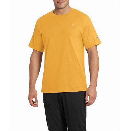 Champion Classic Jersey Mens Crew Neck Short Sleeve T-Shirt, Large , Yellow