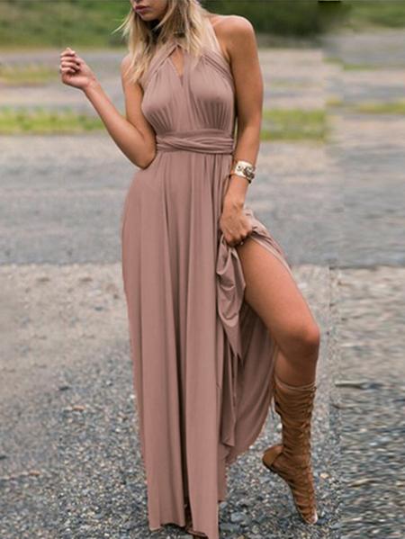 Yoins Sexy Adjustable Neck Strap Deep V Neck Sleeveless Dress