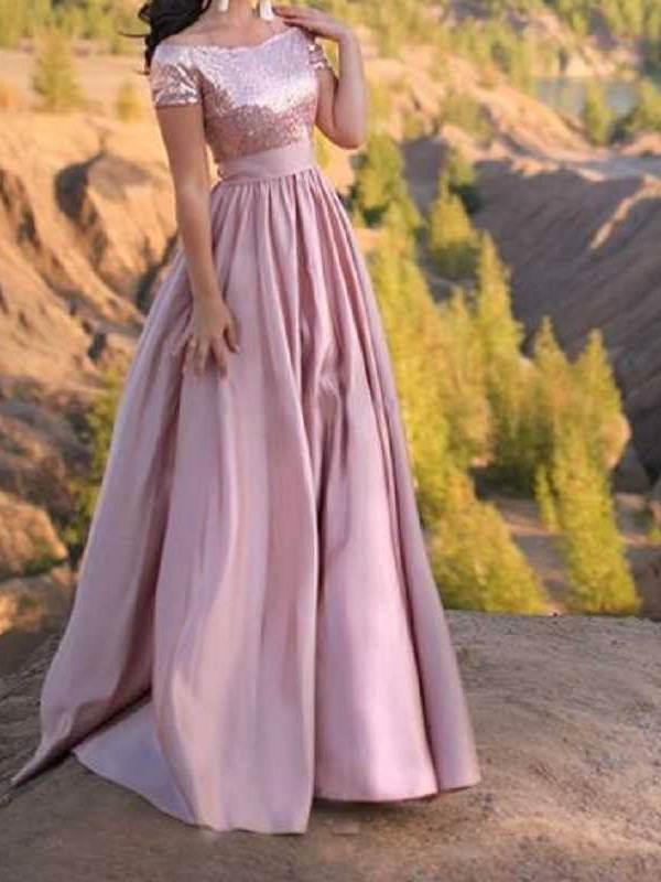 Ericdress Off-The-Shoulder Short Sleeves Sequins Prom Dress
