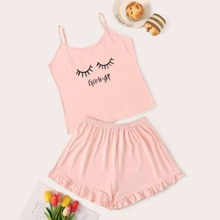 Eyelash & Letter Graphic Cami Pajama Set
