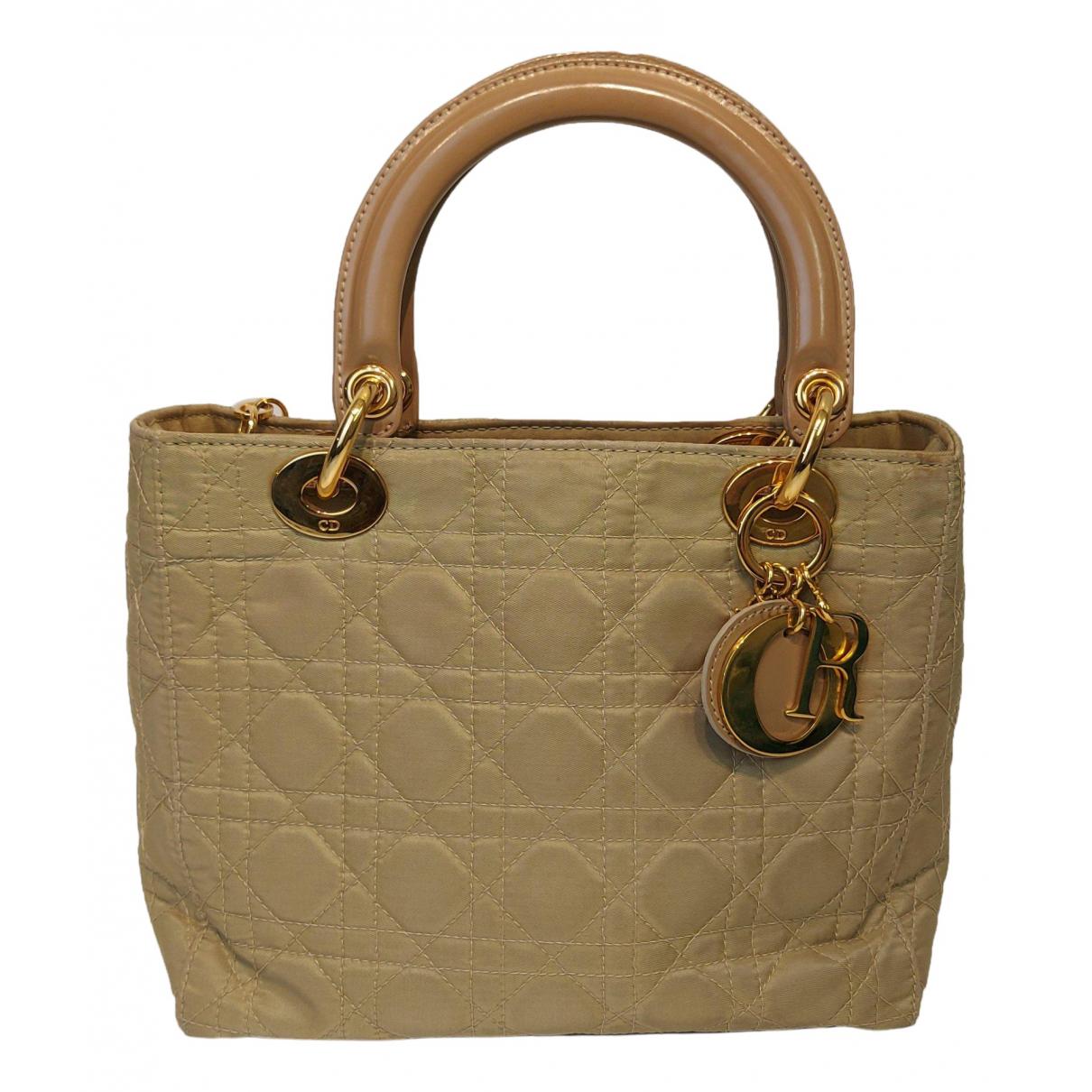 Dior - Sac a main Lady Dior pour femme en toile - beige