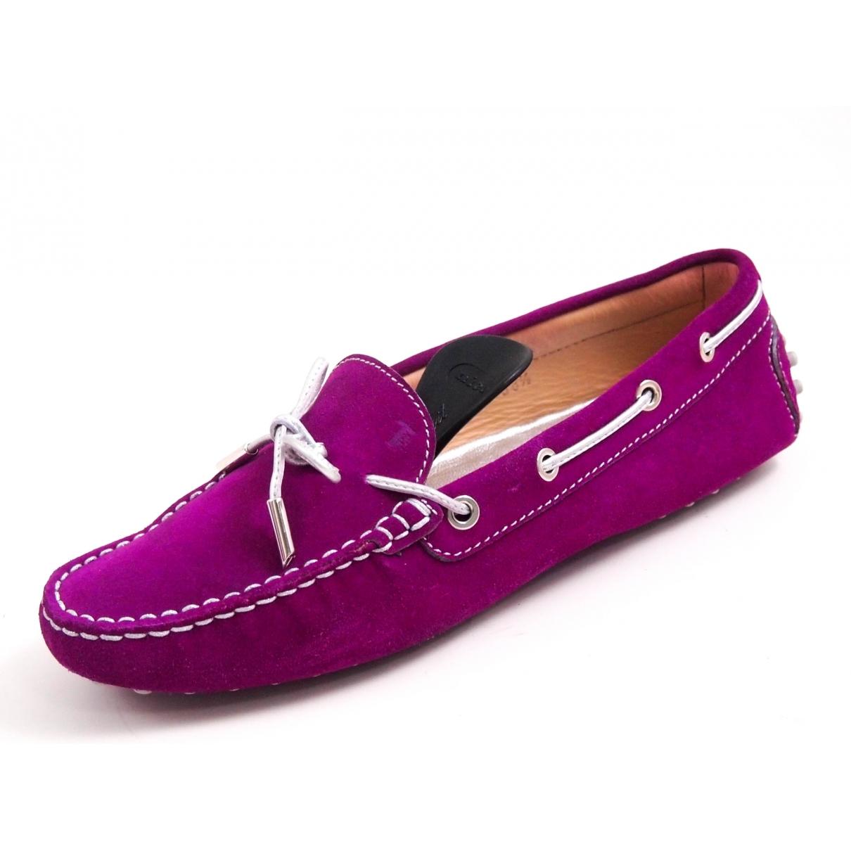 Tod's Gommino Purple Suede Flats for Women 38.5 EU