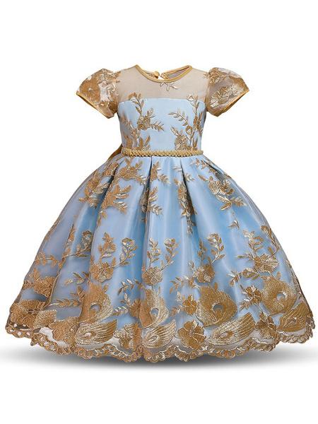 Milanoo Flower Girl Dresses Jewel Neck Short Sleeves Embroidered Kids Party Dresses