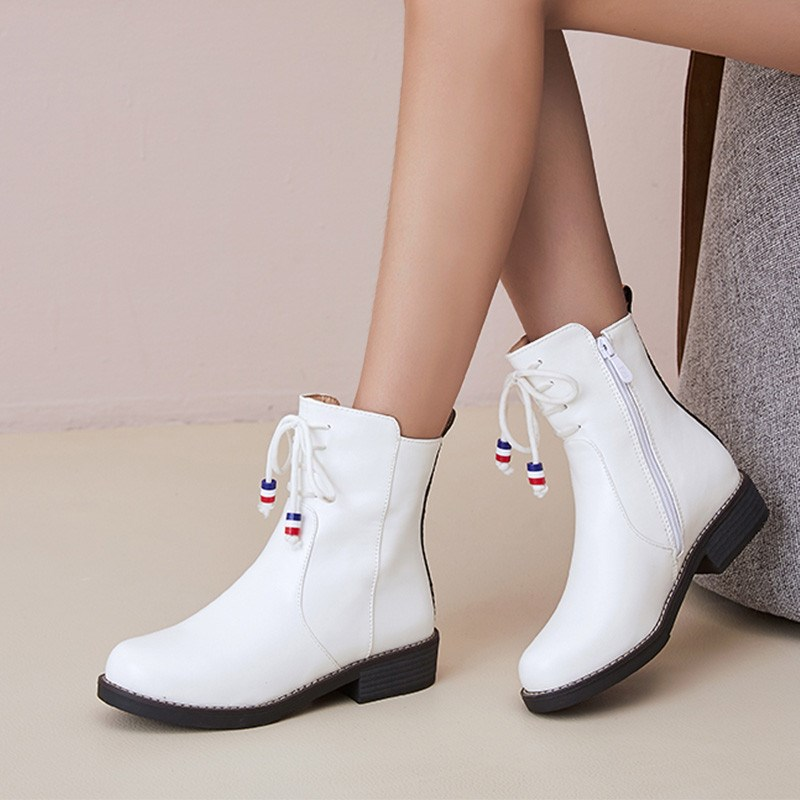 Ericdress Letter Round Toe Side Zipper Sweet Boots