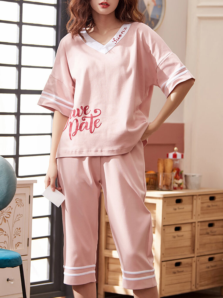 Plus Size Women Cotton Ruffle Trims Cartoon Printed Pajama Sets With Cropped Pants