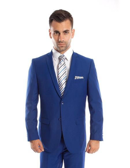 Mens 2 Buttons 2 piece royal slim fit suit Flat Front Pants