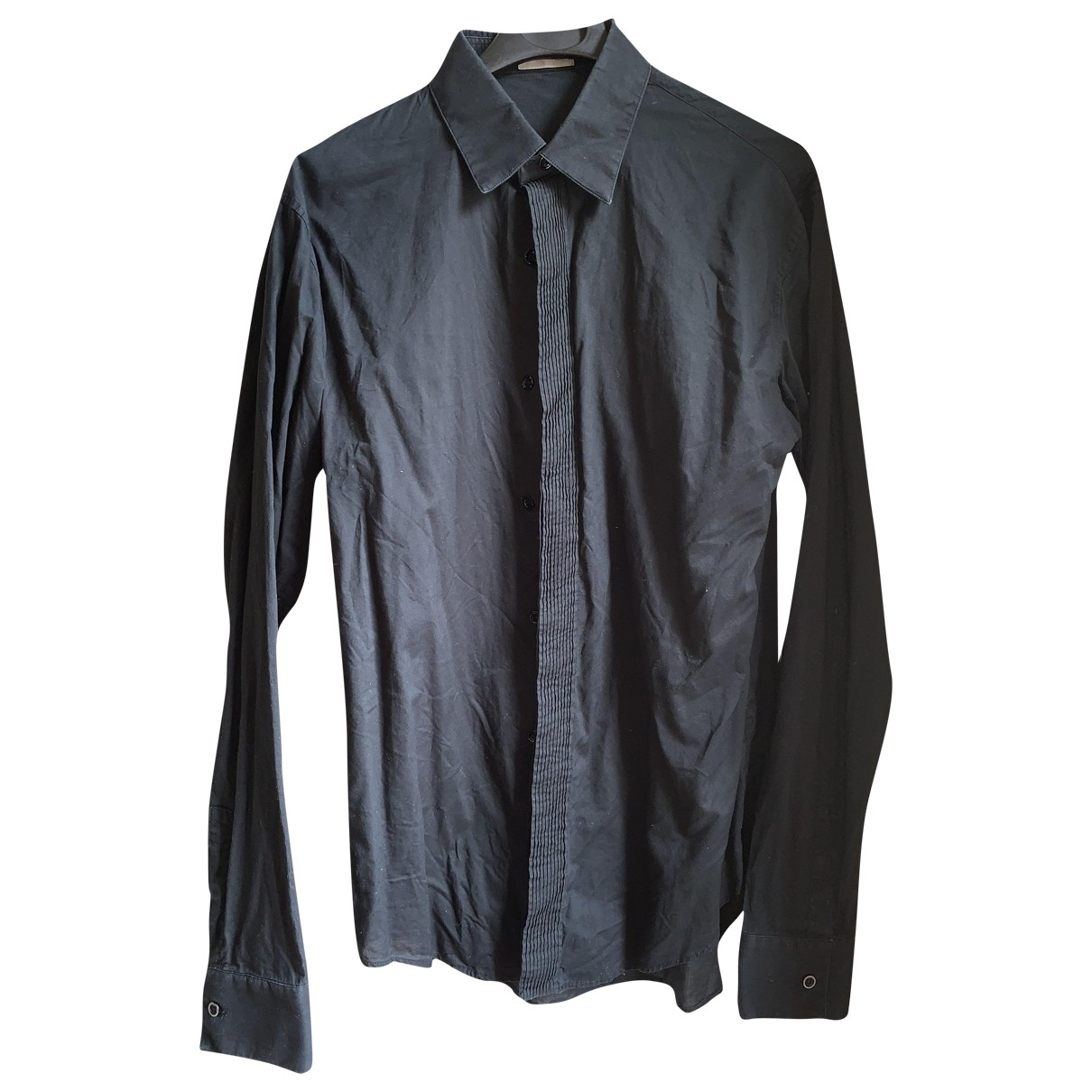 Dior Homme \N Black Cotton Shirts for Men 39 EU (tour de cou / collar)