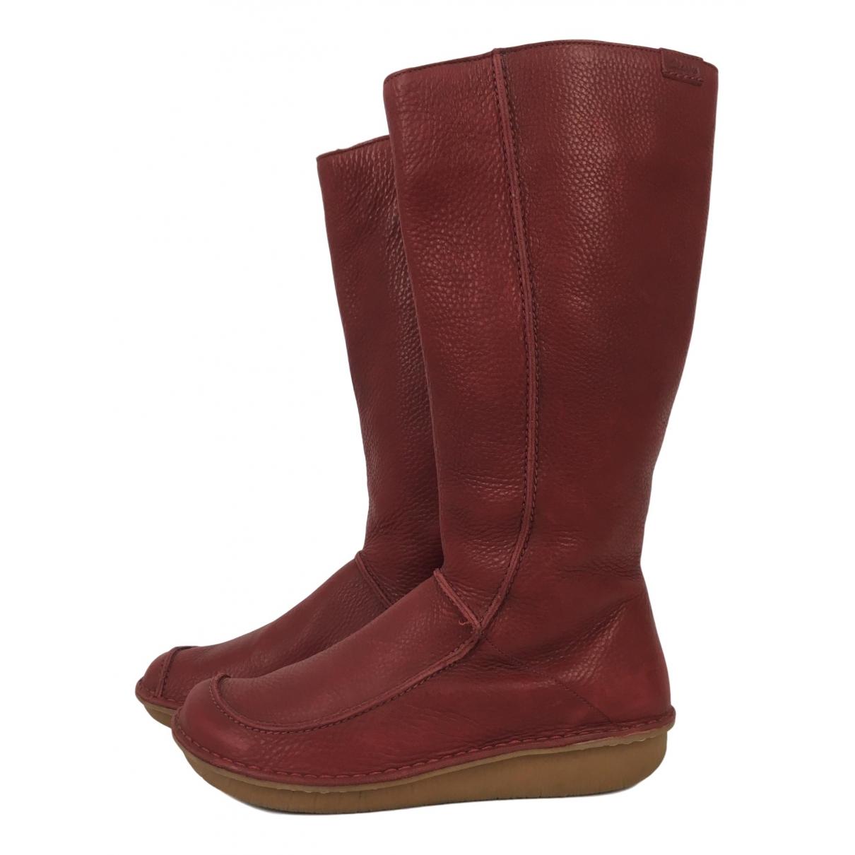Clarks \N Stiefel in  Rot Leder