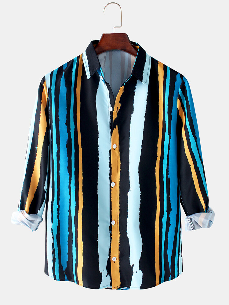 Mens Colorful Stripe Print Button Up Loose Fit Casual Long Sleeve Shirts