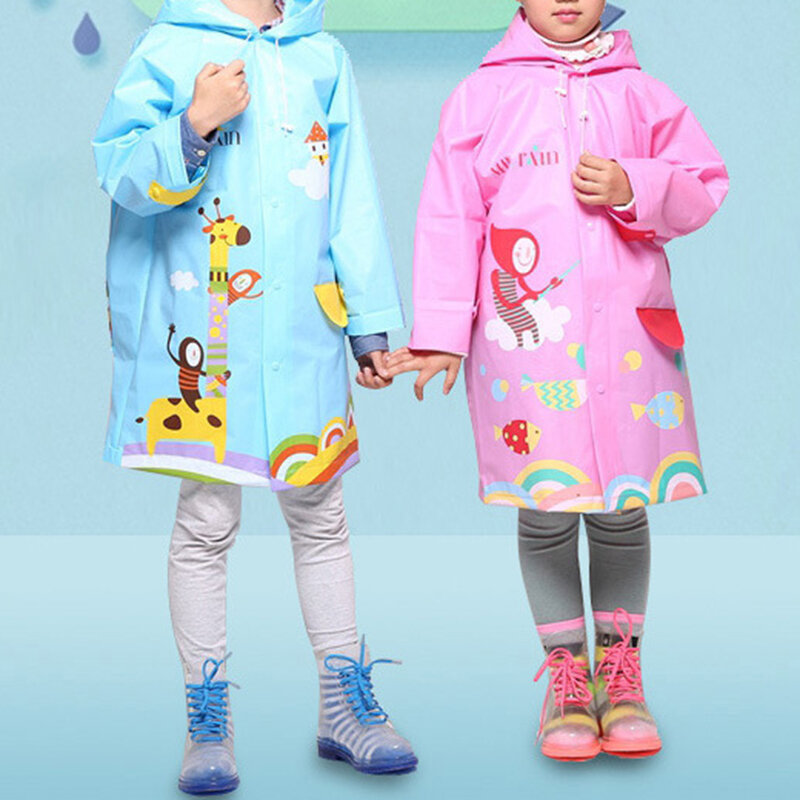 Toddler Girls and Boys Cartoon Colorful Hooded Thicken EVA Raincoat For 3-15Y