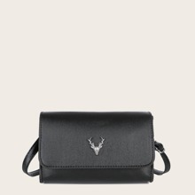 Metal Decor Flap Crossbody Bag
