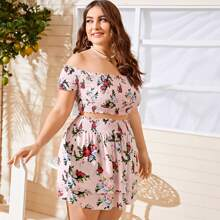 Plus Frill Trim Shirred Floral Top & Skirt Set