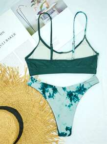 Tie Dye High Cut Bikini Swimsuit