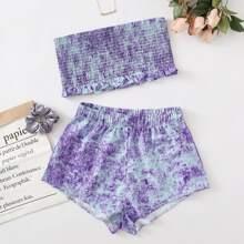 Tie Dye Shirred Tube Top & Shorts PJ Set