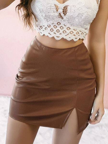Milanoo Bodycon Skirt For Women PU Leather Slit Mini Skirt
