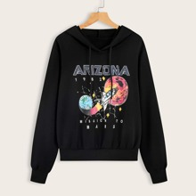 Galaxy And Letter Graphic Drawstring Hoodie