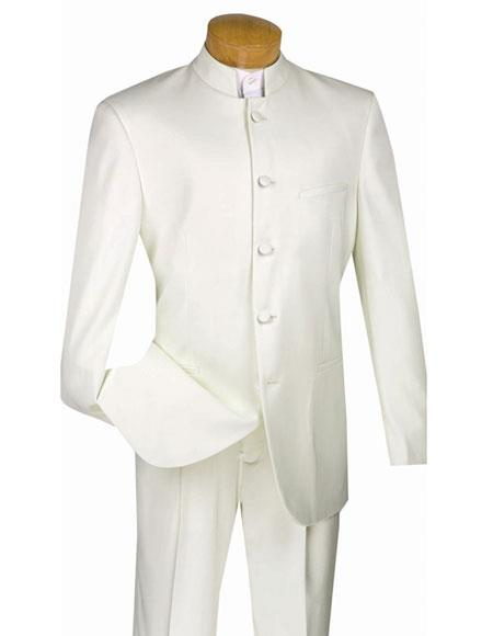 Men's Ivory Mandarin Banded Collar Design Suits Single Pleated Pants