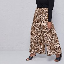 Plus Leopard Print Wide Leg Pants