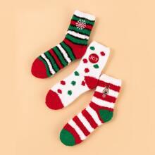 3 pares calcetines de rayas con bordado