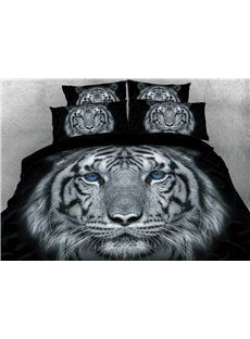 Classic Tiger with Blue Eyes 4-Piece 3D Animal Print Bedding Sets Durable No-fading Zipper Duvet Covers