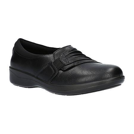 Easy Street Womens Folk Slip-On Shoe, 9 Medium, Black