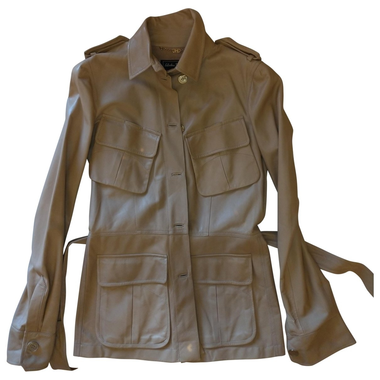 Salvatore Ferragamo - Veste   pour femme en cuir - beige