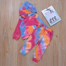 Toddler Girls 3D Ears Design Tie Dye Hoodie & Sweatpants